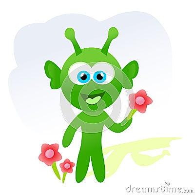Étranger de dessin animé avec des fleurs