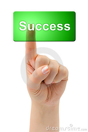Éxito de la mano y del botón