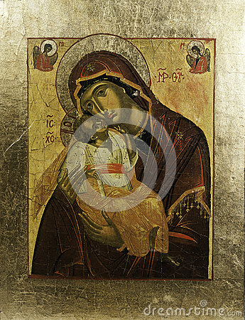 Ícone de Eleousa do grego em um quadro dourado