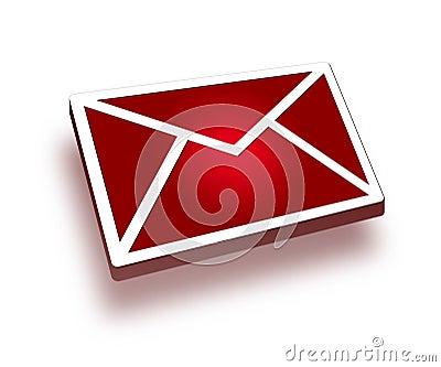 ícone vermelho do correio 3d
