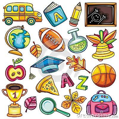 Ícones coloridos da escola