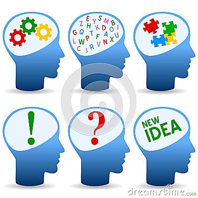 Ícones creativos conceptuais da mente