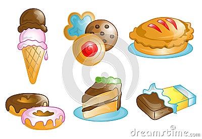 Ícones da comida lixo e da sobremesa