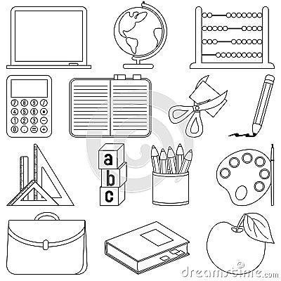 Ícones da escola da coloração
