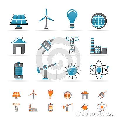 Ícones da potência, da energia e da eletricidade