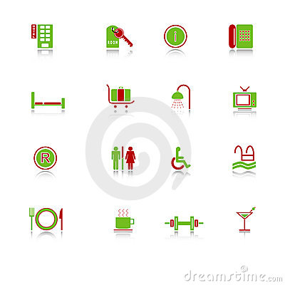 Ícones do hotel - série verde-vermelha