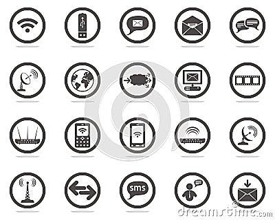 Ícones do Web de uma comunicação ajustados