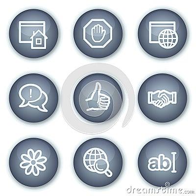 Ícones do Web de uma comunicação do Internet, círculo mineral