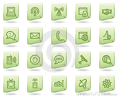 Ícones do Web de uma comunicação do Internet, original verde