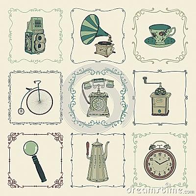 cones objetos e quadros coloridos do vintage do vetor