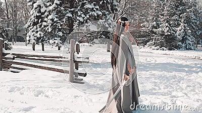 Γοητευτικός τις στάσεις brunette μόνο στην έξοδο από το χωριό της, χαμηλώνει το ξίφος της στο χιόνι και φαίνεται λυπημένος κάτω,  απόθεμα βίντεο