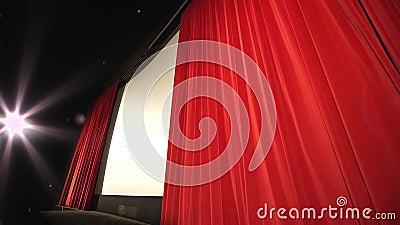 Κινηματογράφος - προοπτική που πυροβολείται μιας κλείνοντας κουρτίνας φιλμ μικρού μήκους