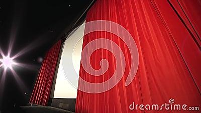 Κλείνοντας κουρτίνα σε μια κινηματογραφική αίθουσα - σύγχρονος κινηματογράφος απόθεμα βίντεο