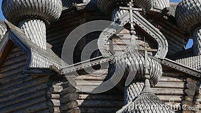 Ξύλινοι χαρασμένοι θόλοι της εκκλησίας απόθεμα βίντεο