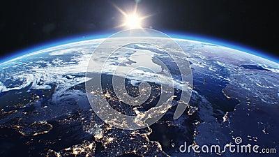 Όμορφη ανατολή πέρα από τη γη Άποψη από το διαστημικό δορυφόρο Πόλεις τη νύχτα Αλλαγή από τη νύχτα στην τρισδιάστατη αύξηση Shini διανυσματική απεικόνιση