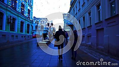 Περίπατος εμπρός κεντρικός Εορταστικός φωτισμός, χρόνος ημέρας, χειμώνας, Μόσχα Ρωσία απόθεμα βίντεο