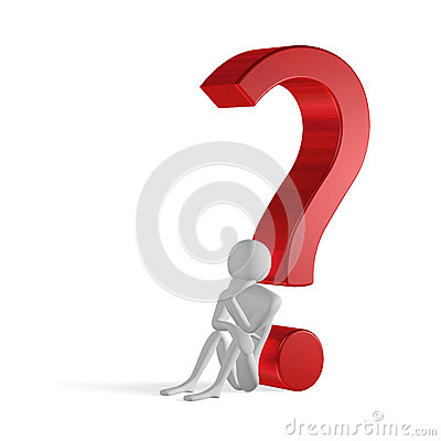 3d man thinking sitting leaning on question mark