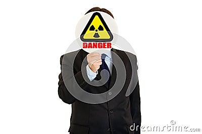 Сoncept-radiation danger! Man with radiation sign