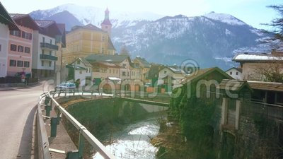 Городской пейзаж Ebensee, Salzkammergut, Австрия видеоматериал