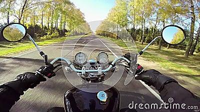 Изумляя катание мотоцикла на красивой дороге Классические крейсер/тяпка навсегда! видеоматериал