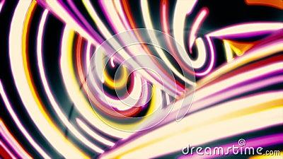 Линии двигать быстрый, предпосылка конспекта неоновые волнистые движения Быстрый пропускать узких, изогнутых, красочных нашивок,  видеоматериал