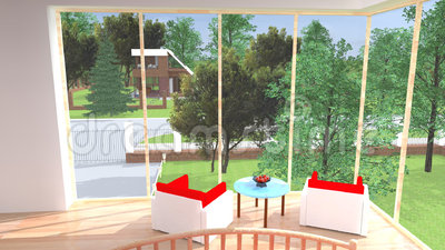 Ð'edroom med trädgårds- sikt royaltyfri illustrationer