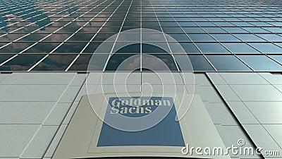 Доска с группой Goldman Sachs, Inc Signage логос Современный промежуток времени фасада офисного здания Редакционный перевод 3D сток-видео