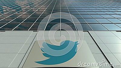 Доска с Twitter, Inc Signage логос Современный промежуток времени фасада офисного здания Редакционный перевод 3D видеоматериал