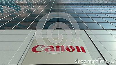 Доска Signage с каноном Inc логос Современный промежуток времени фасада офисного здания Редакционный перевод 3D сток-видео