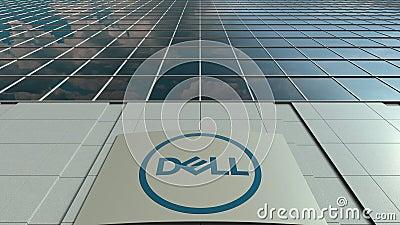 Доска Signage с Dell Inc логос Современный промежуток времени фасада офисного здания Редакционный перевод 3D сток-видео