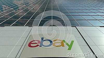 Доска Signage с eBay Inc логос Современный промежуток времени фасада офисного здания Редакционный перевод 3D видеоматериал