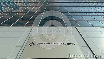 Доска Signage с Mitsui и Co логос Современный промежуток времени фасада офисного здания Редакционный перевод 3D акции видеоматериалы
