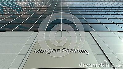 Доска Signage с Morgan Stanley Inc логос Современный промежуток времени фасада офисного здания Редакционный перевод 3D сток-видео