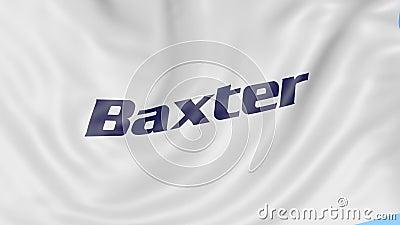 Развевая флаг с логотипом International Baxter Анимация передовицы петли 4K Seamles иллюстрация штока