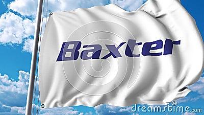 Развевая флаг с логотипом International Baxter анимация передовицы 4K иллюстрация штока