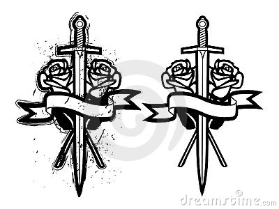 玫瑰剑纹身花刺图片