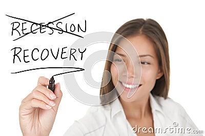 Ökonomisches Konzept der Rezession und des Wiederanlaufs