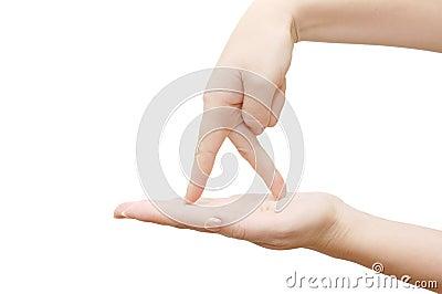 öppna fingrar gömma i handflatan går