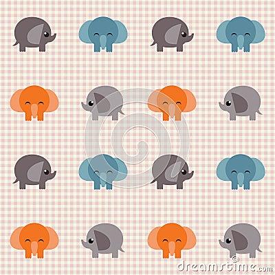 Überprüftes Retro- Muster mit kleinen netten Elefanten