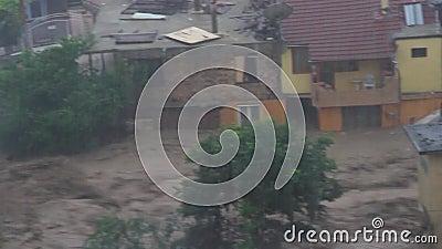 Überschwemmungen im Zusammenhang mit der globalen Erwärmung in Bulgarien stock footage