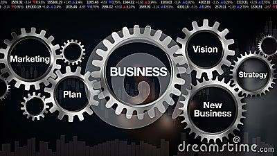 Übersetzen Sie mit Schlüsselwort, Plan, Marketing, Vision, Strategie, neues Geschäft, GeschäftsmannTouch Screen 'GESCHÄFT' stock abbildung
