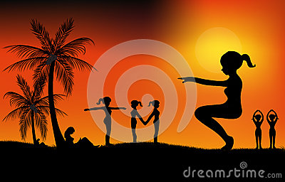 Übung bei Sonnenuntergang