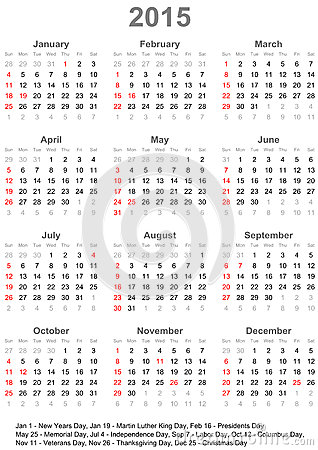 美国的日历2015年-在星期天图片