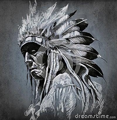 美国艺术题头印第安纵向纹身花刺
