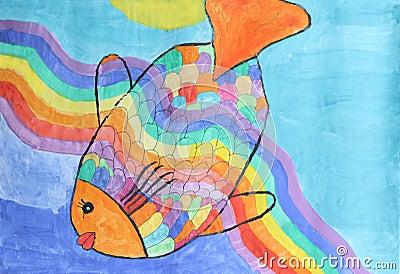 美丽的绿锦鱼-儿童水彩绘画