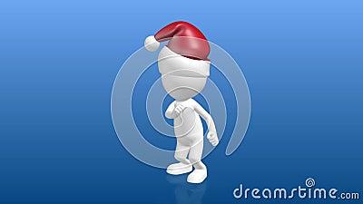 Śmieszny 3D Ludzki charakter z boże narodzenie kapeluszowym tanem skręt zdjęcie wideo