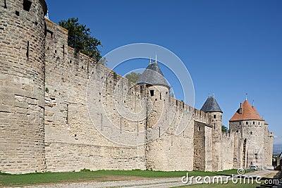 średniowieczny Carcassonne rampart France
