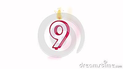 Świeczki liczby dziewięć alfa zapętlająca ilustracja wektor