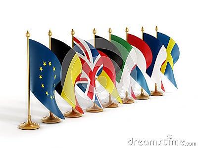 欧盟创建者在白色背景隔绝的国旗.图片