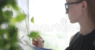 Żeński wykonawczy robi obliczenie na biurowym whiteboard zdjęcie wideo